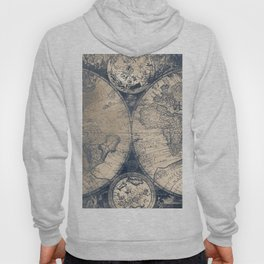 Antique World Map White Gold Navy Blue by Nature Magick Hoody