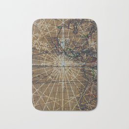 Vintage Old World Abstract Map Badematte