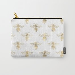 Gold Bee Pattern Carry-All Pouch