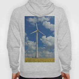 Wind Turbine Windmill in the Landscape with Yellow Colza Field and Blue Sky Hoody