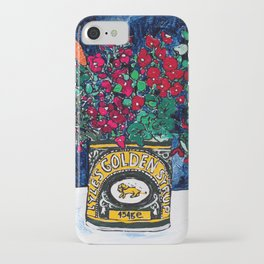 Wild Flowers in Golden Syrup Tin on Blue iPhone Case