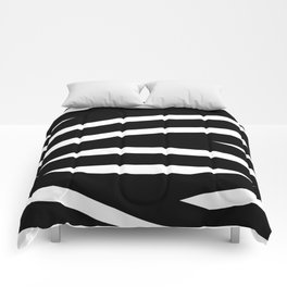 Abstract black & white Lines Stripes Pattern - Mix and Match with Simplicity of Life Comforters