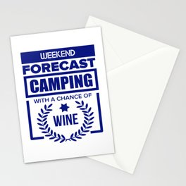 Camping Forecast With A Chance Of Wine Stationery Cards