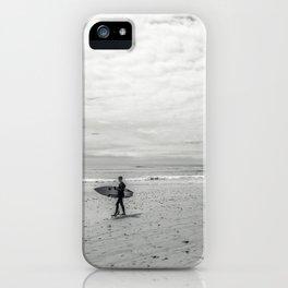 surfer on solana beach, san diego, california iPhone Case