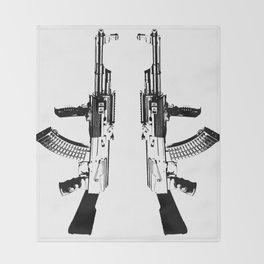 BLACK AK 47 Throw Blanket