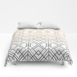 Gold And Grey Geo Comforters