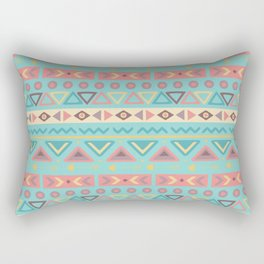Hand painted teal coral ivory geometrical tribal pattern Rectangular Pillow