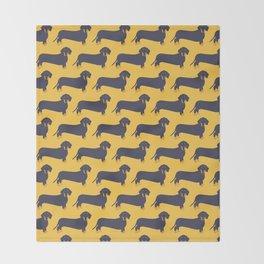 Trendy Dachshund Illustration Pattern Throw Blanket