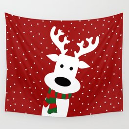 Reindeer in a snowy day (red) Wall Tapestry