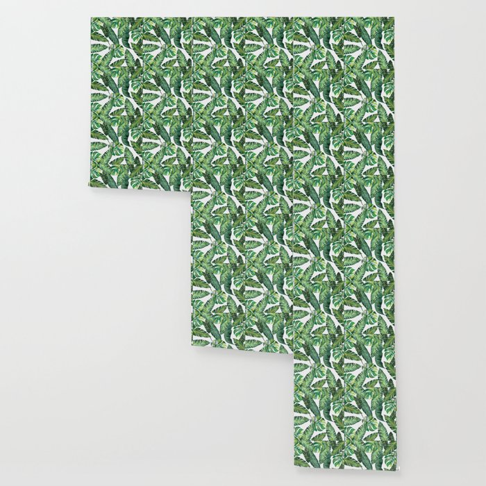 Jungle Leaves, Banana, Monstera #society6 Wallpaper