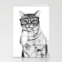 hipster Stationery Cards featuring Mac Cat by florever