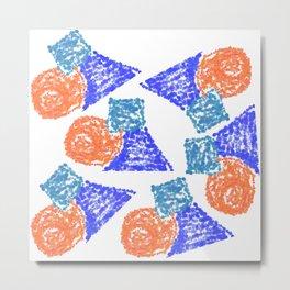 Abstract wax paint. Blue, orange, light blue Metal Print