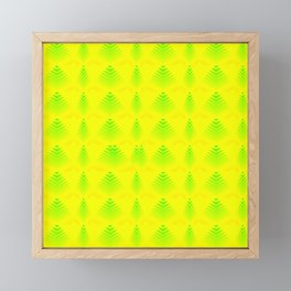 Mother of pearl pattern of melon hearts and stripes on a yellow background. Framed Mini Art Print