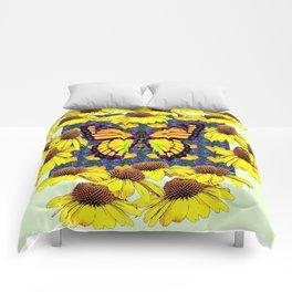 GOLDEN MONARCH BUTTERFLIES YELLOW FLORAL ABSTRACT Comforters