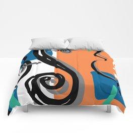 Scroll Pride - violin viola cello love - orange and teal Comforters