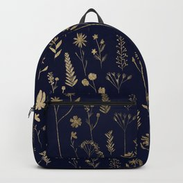 Hand drawn gold cute dried pressed flowers illustration navy blue Backpack