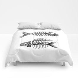 Original Artwork Fish Bone print, Abstract Ink Painting, Summer Home Decor, Seasonal Art Gift Comforters