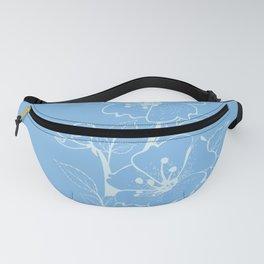 Blue Glass Floral Tile Fanny Pack