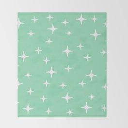 Mid Century Modern Star Pattern 443 Mint Green Throw Blanket