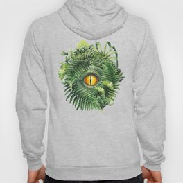 Watercolor dinosaur eye and prehistoric plants Hoody