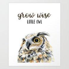 Grow Wise Little Owl Nursery Animals Art Great Horned Owl Art Print