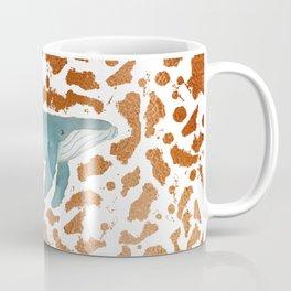 Blue Whale Swimming in Copper Coffee Mug
