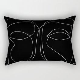 White line couple Rectangular Pillow