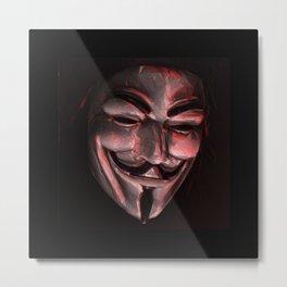 Guy Fawkes Poly Shadow Mask Metal Print