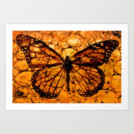 Butterfly in Amber Photomontage Art Print