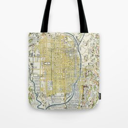 Japanese woodblock map of Kyoto, Japan, 1696 Tote Bag