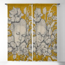 """Guardians"" - Surreal Floral Portrait Illustration Blackout Curtain"