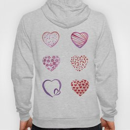 Watercolor Pink Hearts Hoody