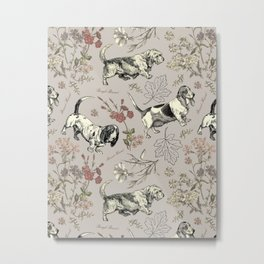 BASSET HOUNDS pattern - gray Metal Print