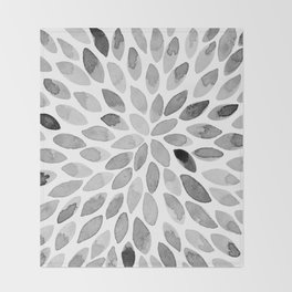 Watercolor brush strokes - black and white Throw Blanket