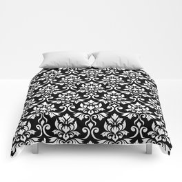 Feuille Damask Pattern White on Black Comforters
