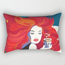 """Beautiful Fashion Woman and Coffee Cup"" POP-ART poster, Retro, Design Rectangular Pillow"