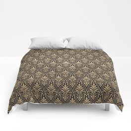 Chic Gold and Black Art Deco Leafy Damask Comforters