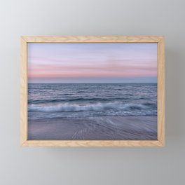 Pastel beach sunset Framed Mini Art Print