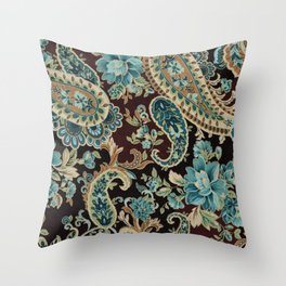 Brown Turquoise Paisley Throw Pillow