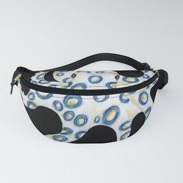 Blue Ring Octopus On Black Fanny Pack