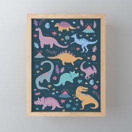 Dinosaur + Flowers Pattern Framed Mini Art Print