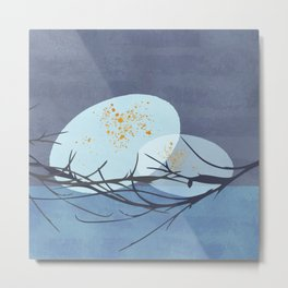 Winter Eagle Eggs Nest - Minimal Abstract Nature Metal Print