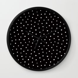 Minimal- Small white polka dots on black - Mix & Match with Simplicty of life Wall Clock
