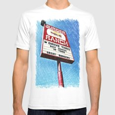 The Burger Ranch MEDIUM White Mens Fitted Tee