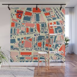 paris map blue Wall Mural