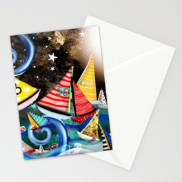 Night Sailing - Aurora Art Moonlight Stars Night Stationery Cards