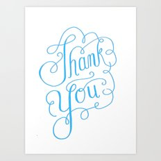 Thank you Hand Lettered Calligraphy Art Print