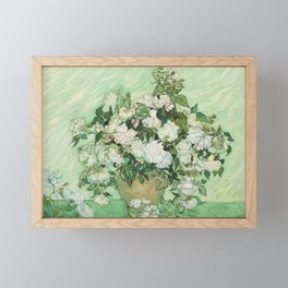 Vase with Pink Roses by Vincent van Gogh Framed Mini Art Print