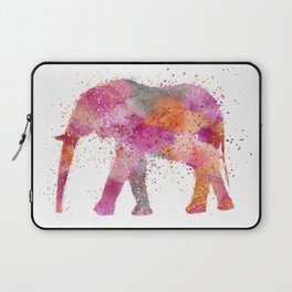 Artsy watercolor Elephant bright orange pink colors Laptop Sleeve