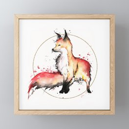 Fire Fox Watercolour Framed Mini Art Print